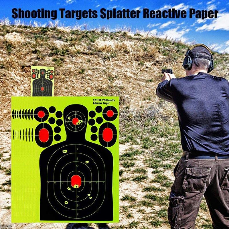 5Pcs 14.54*9.83inch Half-Length Humanoid Shooting Target Paper Fluorescent Sticker Hunting Training Target Paper Splash Sticker