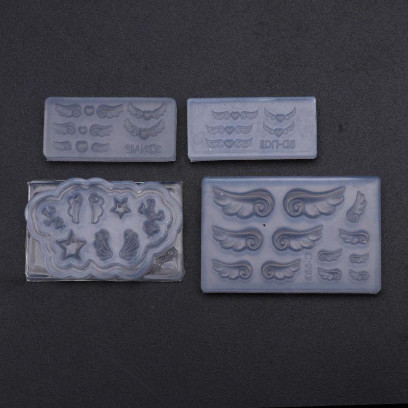 4Pcs Mini Heart Wings Resin Earring Pendant Mold Nail Art Template Silicone Mold