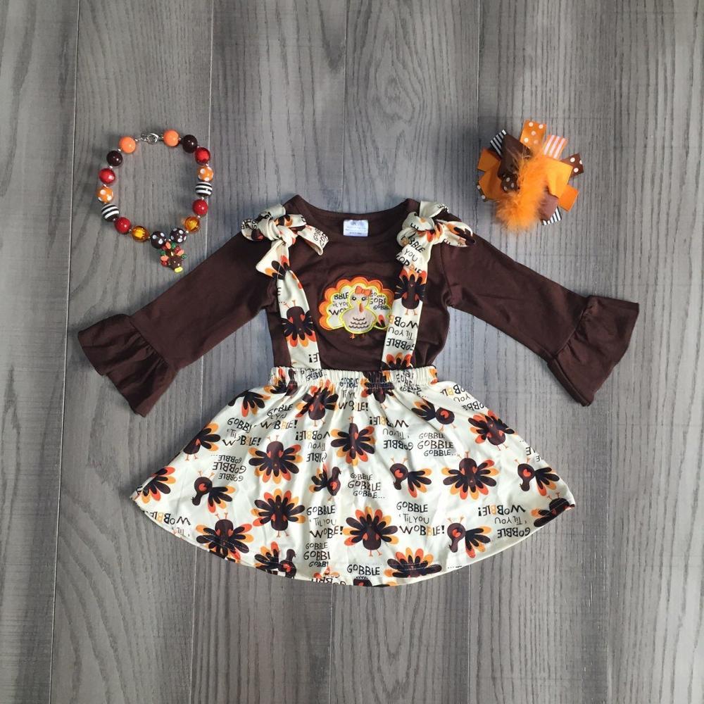Kinder mädchen 2 stücke kleidung mädchen herbst kleid mädchen thanksgiving kleid mädchen türkei kleid mit zubehör
