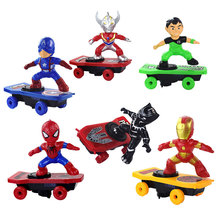 2019 Electric Iron Man Skateboard Spiderman Electronic Walking Toys With Music L
