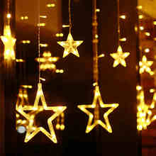 YINUO LIGHT 12PCS Stars Garland Led String Light Fairy Lights Curtain Waterproof 8 Modes Holiday Christmas Decoration