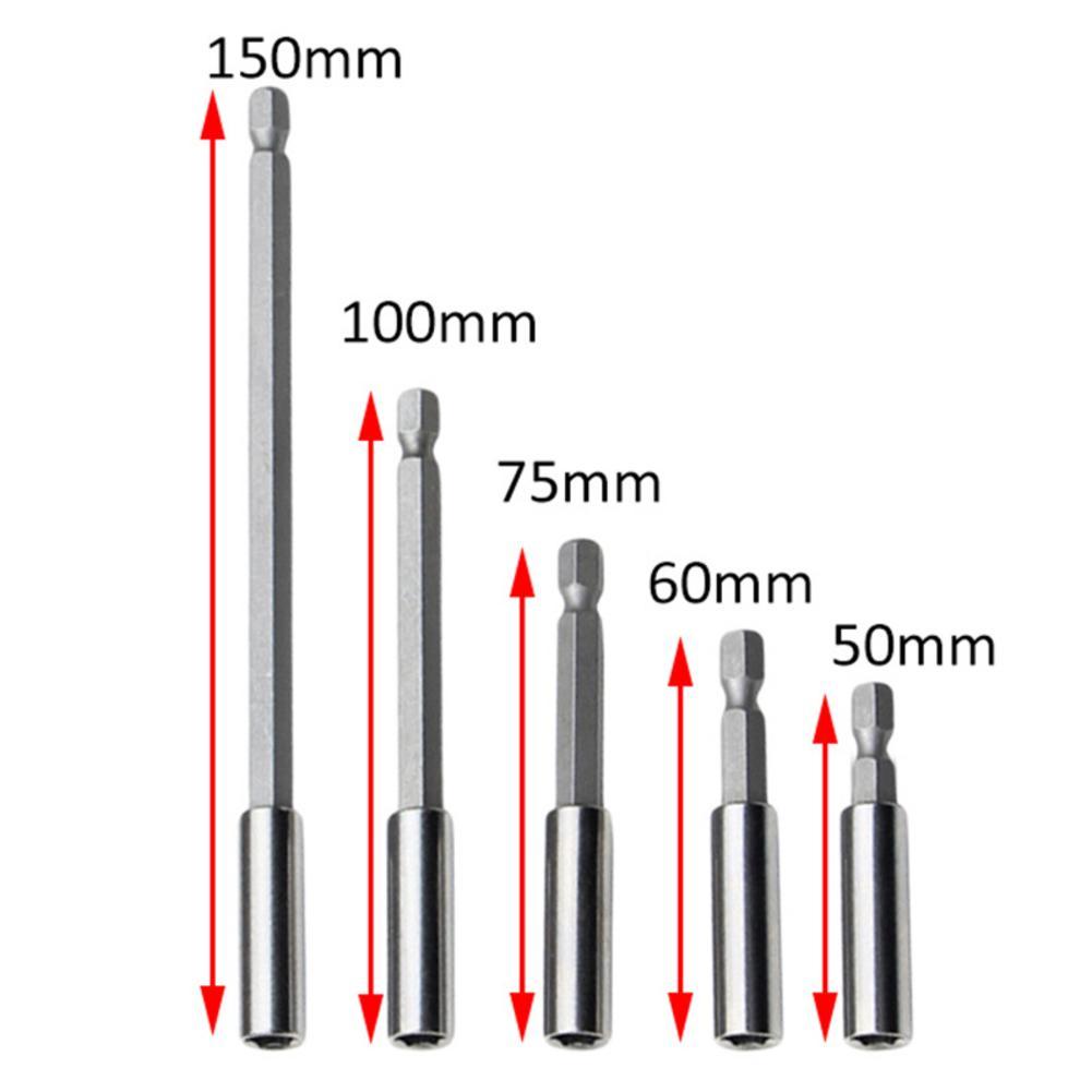 1/4 Hex Shank Screwdriver Tip Magnetic Holder Hand Tool Socket Extension Tool Set 150mm/100mm/75mm/60mm/50mm