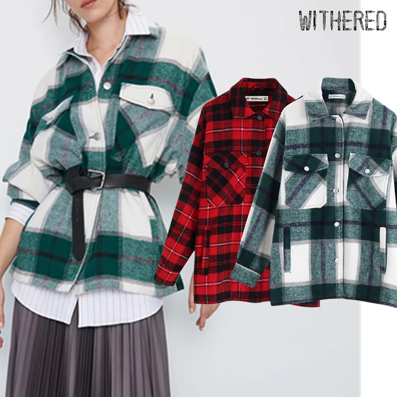 Withered England Vintage Flannel Plaid Oversize Thick Blouse Women Blusas Mujer De Moda 2020 Kimono Shirt Womens Tops And Blouse