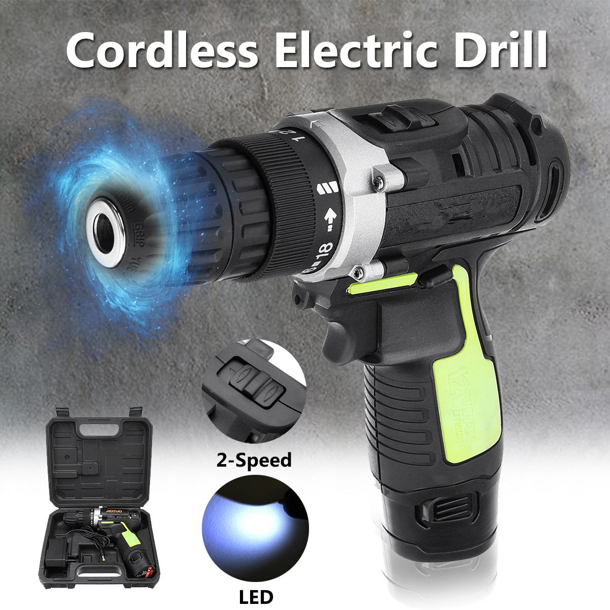 12V Battery Rechargeable Cordless Drill Electric Screwdriver Power Driver 3/8'' With LED Light Drill DIY Woodworking Power Tools