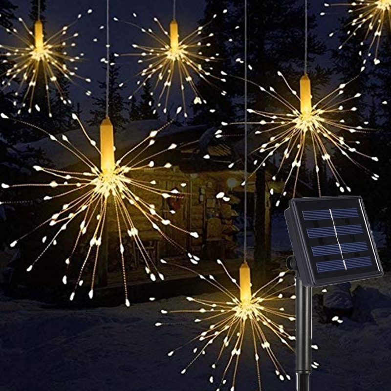 DIY Outdoor Garden Decoration LED Firework Explosion Christmas Fairy Light With Solar Power Hanging Starburst LED String Garland