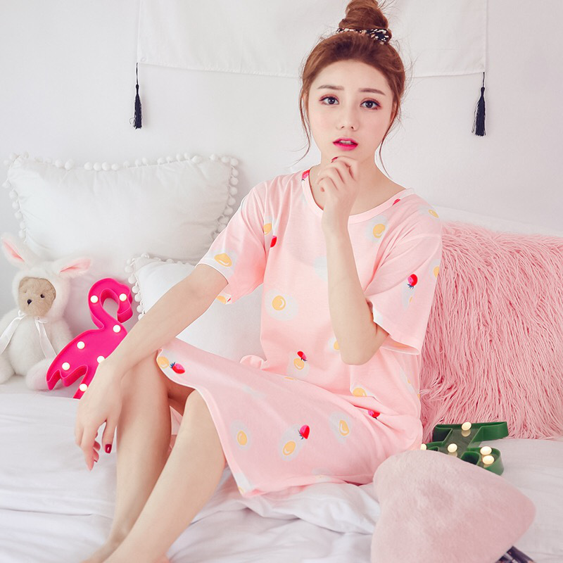 Summer Short-sleeved Nightgown Women's Pure Cotton Pullover Cartoon Cute Pajamas Loose Tracksuit Mid-length Full-cotton One-piec