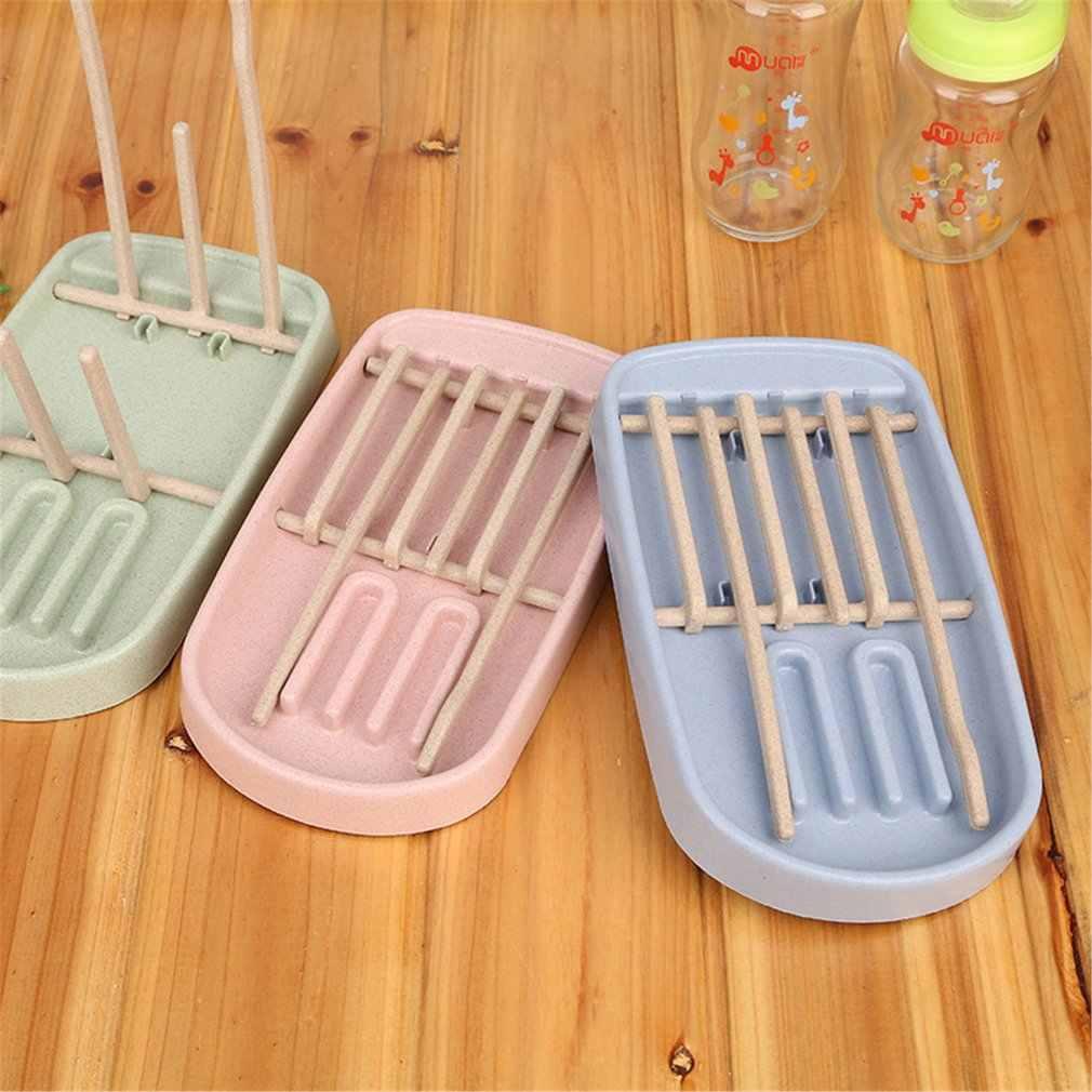 Estante de secado de biberón de paja de trigo estante seco para biberón estante de secado de botella rosada azul secador de limpieza escurridor de almacenamiento 250*160*20mm