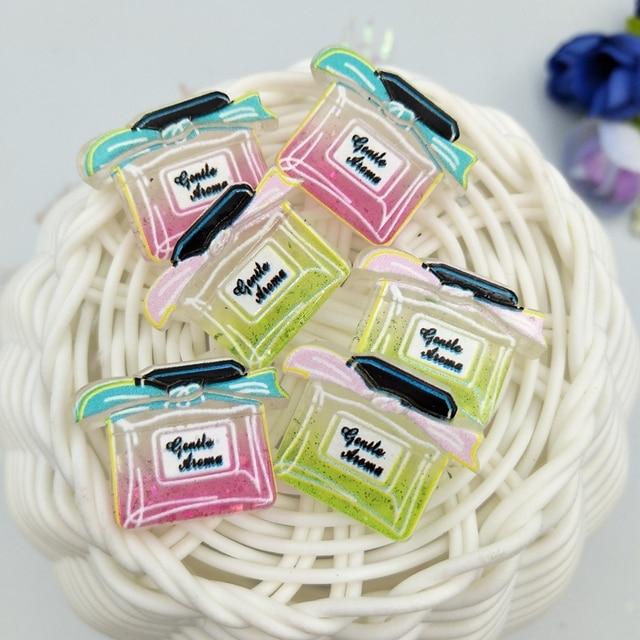 10 pièces bouteille de parfum résine décoration artisanat Flatback Cabochon embellissements pour Scrapbooking perles accessoires de bricolage