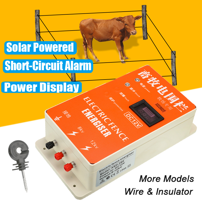 Solar Electric Fence Energizer Charger High Voltage Pulse Controller Animal Poultry Farm Electric Fencing Shepherd Display Alarm