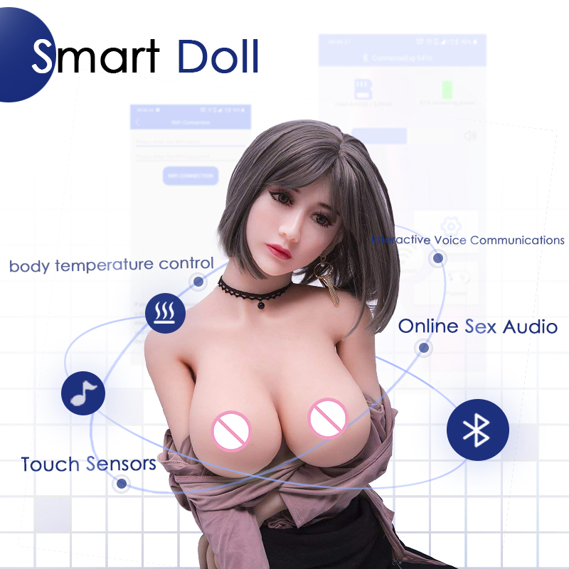 Full <font><b>silicone</b></font> <font><b>Sex</b></font> <font><b>Doll</b></font> with Metal Skeleton 158cm heating smart Love <font><b>Doll</b></font> Realistic <font><b>Vagina</b></font> Pussy <font><b>Ass</b></font> adult <font><b>Sex</b></font> Toys for Men image