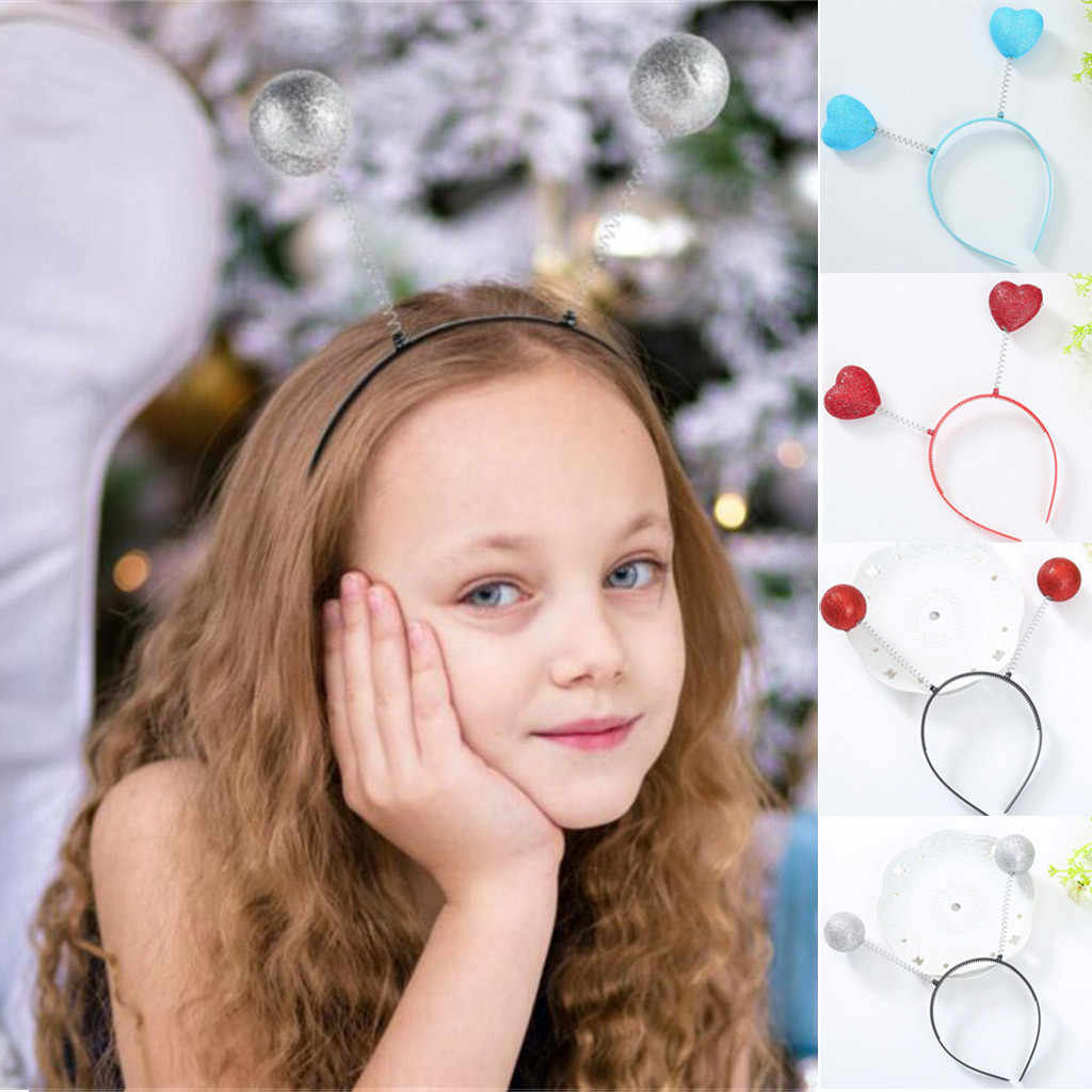 Silver Antenna Headband Alien Ball Boppers for Funny Birthday Party Hairbands Costume Accessory Baby Girls Hair Accessories