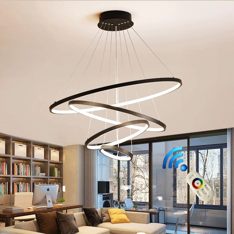 Modern led chandelier 40 60 80cm circle chandelier lighting  lustre ring lights living room decoration bedroom light fixtures