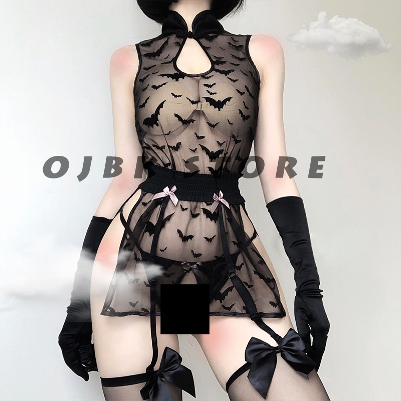 Womens Lingerie See Through Cosplay Costumes Bat pattern Anime Sleepwear Sexy Bandage Outfit Erotic Night wear Lace sleepwear