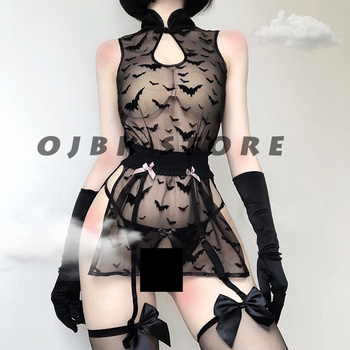 Womens Lingerie See Through Cosplay Costumes Bat pattern Anime Sleepwear Sexy Bandage Outfit Erotic Night wear Lace sleepwear - discount item  49% OFF Exotic Apparel