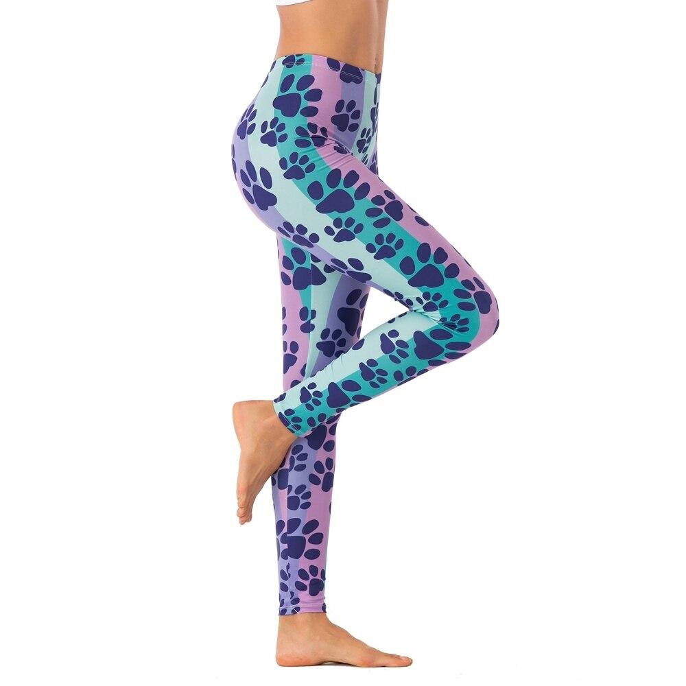 Women Fashion Legging Colorful Striped Dog Footprints Printing leggins Sexy Slim legins High Waist Leggings Woman Fitness Pants 1