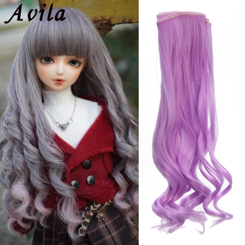 Dolls Accessories Natural Color Curly Doll Wig 25*100CM Doll Hair For 1/3 1/4 1/6 1/12 BJD Diy Doll Tresses