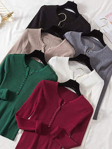 Knitwear Jumper Sweater Winter Tops Women Pullover Slim Soft V-Neck Single-Breasted