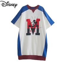 Disney Summer New Women's Breathable Cotton Mickey Mouse Printed Loose Casual Dress Top