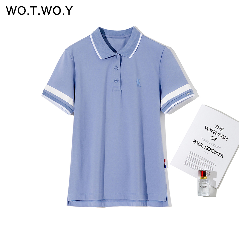 WOTWOY High Quality Plus Size Rabit Print Polo Shirts Women 2020 Spring Casual Short Sleeve Cotton Polo Tops Female Black Button