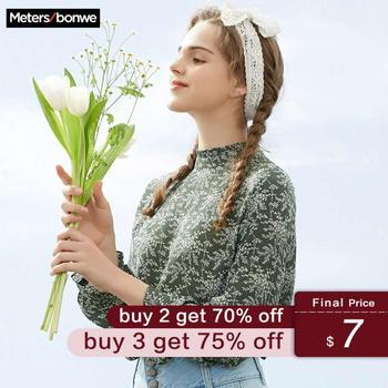 Metersbonwe printemps nouvelles femmes Blouses mode florale en vrac doux filles étudiant bureau Blouse décontracté frais en mousseline de soie Base chemise