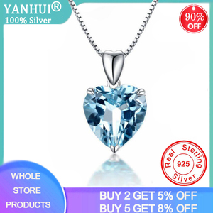 YANHUI Silver 925 Jewelry Necklace 100% 925 Sterling Silver Sapphire Pendant Luxury Woman Crystal Pendant Necklace Fine Jewelry