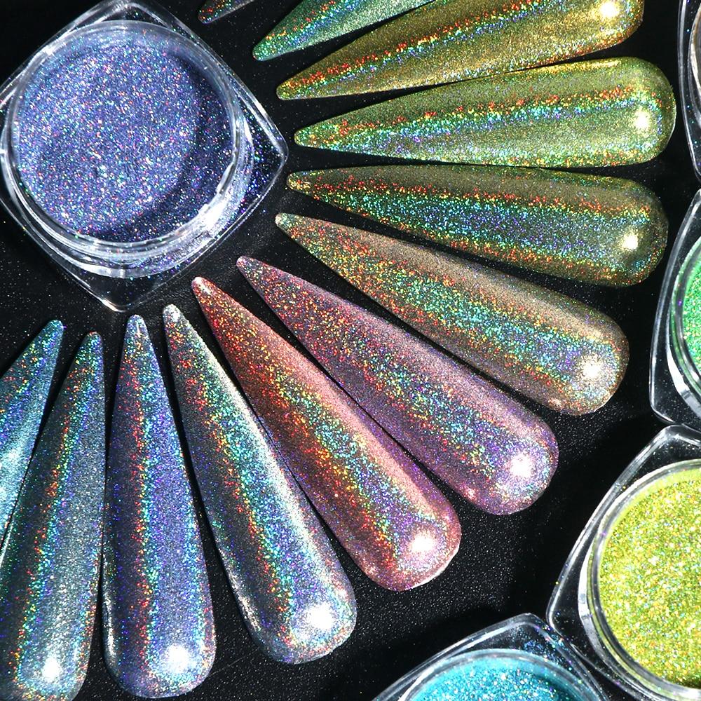 1g Laser Glitter Nail Powder Holographic Nail Art Pigment Shimmer Chrome Dust Polishing Dazzling Flakes Manicure Charms SA1028