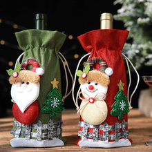 Bag Bottle-Cover Christmas-Table-Decorations Merry-Christmas Champagne Red for Home Holiday