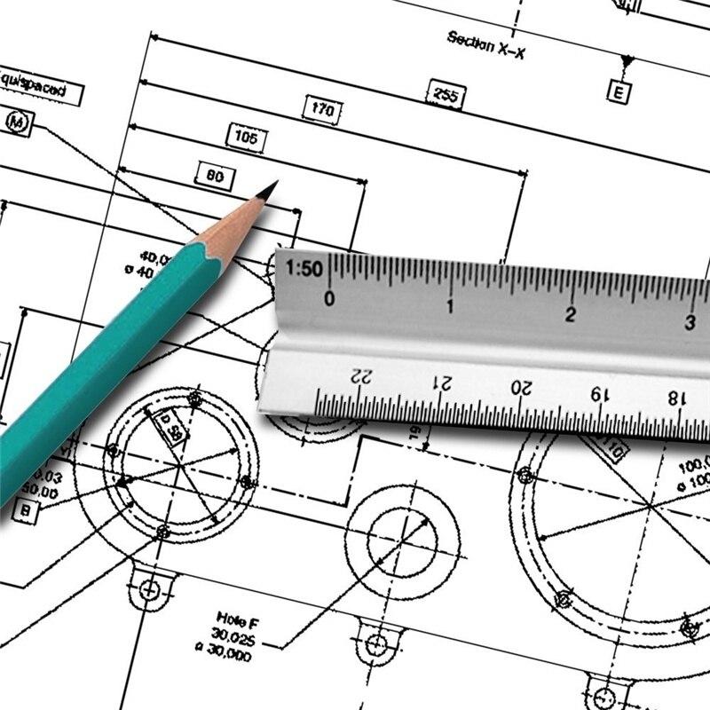 30cm Triangular Architect Scale Ruler Aluminum Scale Ruler For Drafting JLRL88