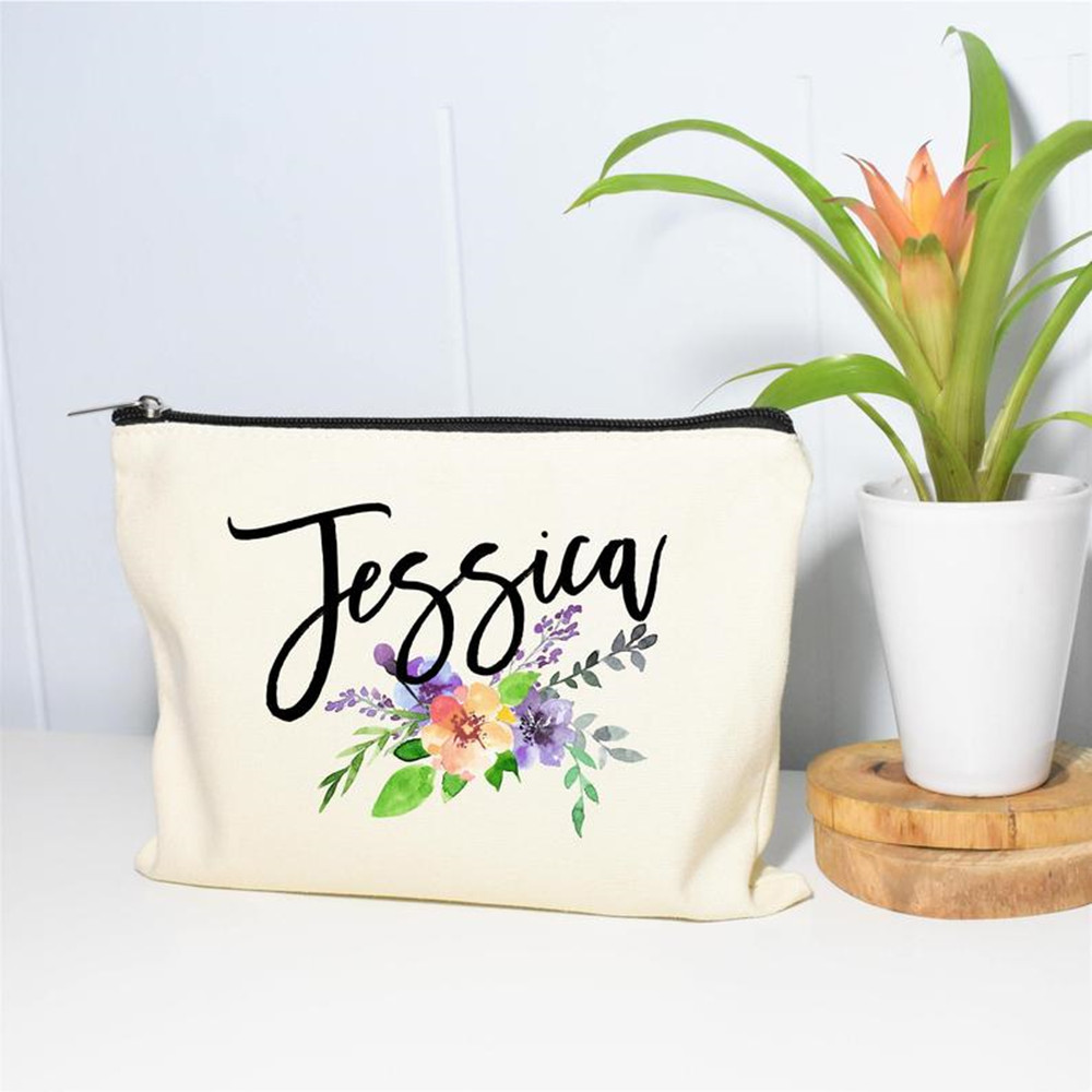 Monogram Cosmetic bag personalised floral team bride makeup bags Bridesmaid proposal gift bridal shower Make up Bag Toiletry Bag