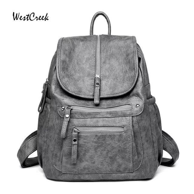 WESTCREEK Brand Women Backpack High Quality Leather Fashion School Backpacks Female Feminine Casual Large Capacity