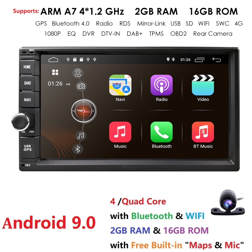 Universal 2din car radio Android 9.0 for Nissan Car NO DVD player GPS Wifi BT 2GB RAM 16GB ROM 4G Flash FREE MAP LTE DAB Network