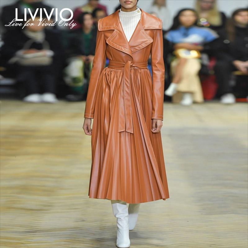[LIVIVIO] PU   Leather   Pleated Coat For Women Turn Down Neck Long Sleeve High Waist with Sash Female 2019 Autumn Fashion Clothing