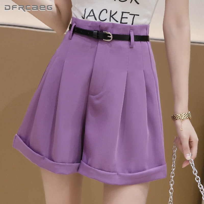 Free Belt High Waist Loose Bermuda Women Shorts Summer 2020 Fashion Office Work Suits Short Capris Trousers Female Purple White
