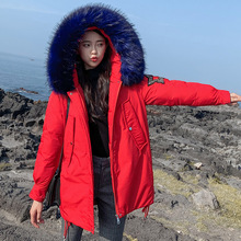 Winter Women Parkas jacket 2019 styled  thick warm winter big fur collar hooded mid-long winter parkas outwear jackets