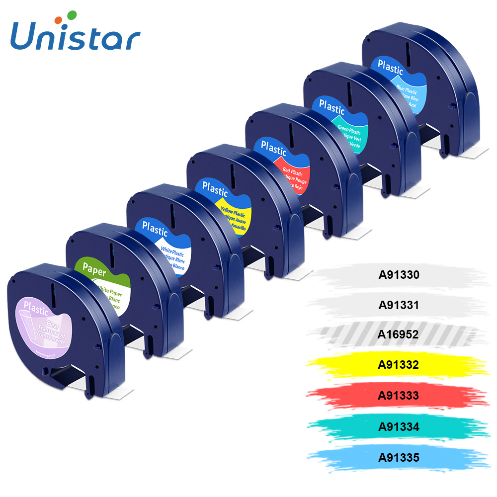 Unistar 7 Pack 91201 Compatible for Dymo Letratag Tape 12mm 91330 16952 91331 91332 Mixed Color Tape for Dymo LetraTag lt-100h