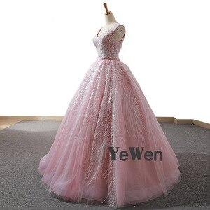 Image 3 - YENWEN מדהים ערב שמלות 2020 פורמליות O צוואר שמלה לנשף כדור שמלת אימפריה שרוולים מסיבת Dressabiti דה cerimonia דה סרה