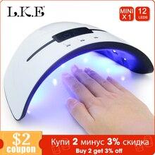 LKE Lámpara LED para uñas 36W, para todo tipo de geles, 12 LED, luz solar UV, temporizador, USB, portátil