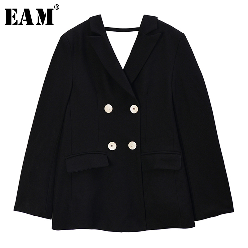 [EAM]  Women Black Double Breasted Hollow Out Blazer New Lapel Long Sleeve Loose Fit  Jacket Fashion Spring Autumn 2020 1R746