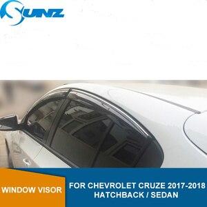 Image 1 - Side window deflectors For Chevrolet Cruze hatchback / sedan 2017 2018  Car Window Deflector Visor Vent Rain Guards SUNZ
