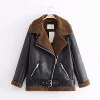 Autumn and winter thick warm fur one ladies jacket 2019 new zipper pocket belt black lamb fur coat ladies fashion locomotive tre