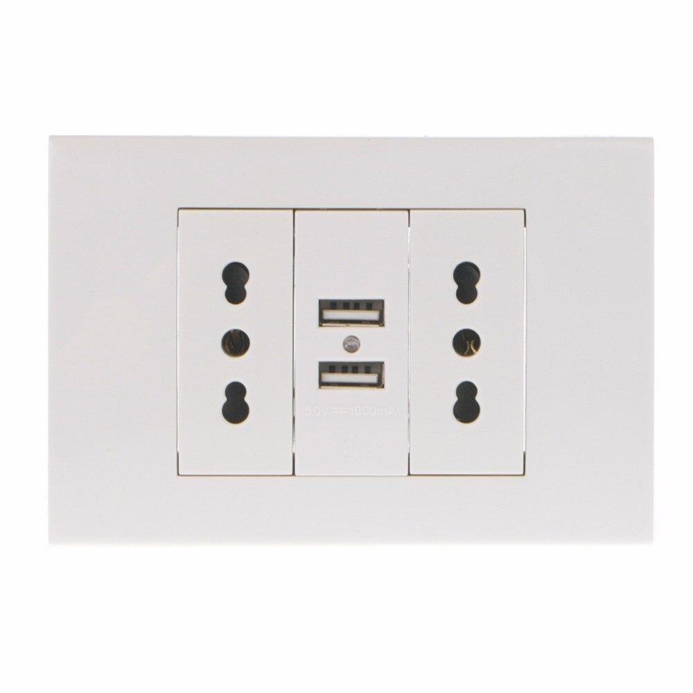 16A Wall Double Italian/Chile Plug Power Socket Adapter Dual USB Ports Panel 5V 1A ABS Sockets