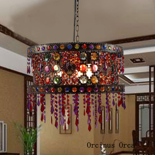 Mediterranean Stained Glass Chandelier Cafe Restaurant Southeast Asia Exotic Style Retro Hand-woven Chandelier  Free Shipping