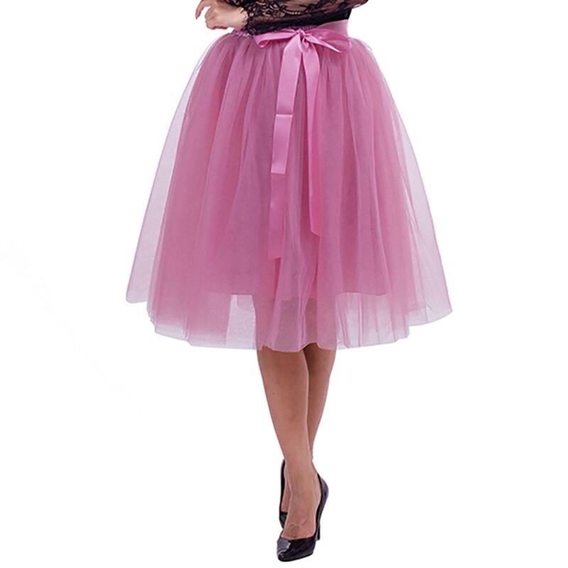 5 Layers 65cm Midi Tulle Skirt Princess Pleated Dance Tutu Skirts Womens Lolita Petticoat Jupe Saia Faldas Denim Party Skirts