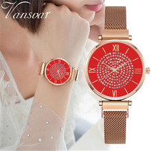 Montre Femme 2019 Luxury Brand Women Bracelet Watches Red Fashion Rhinestone Watch Ladies Crystal Quartz Magnetic Wrist Watch