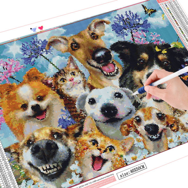 HUACAN Diamond Embroidery Dog Full Square Drill Sale Diamond Painting Animals Cross Stitch Kit Home Decoration