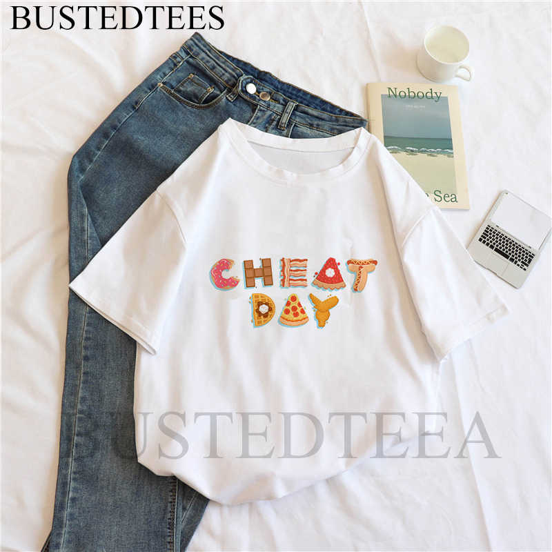 Новая женская футболка Ленивец Повседневная Harajuku Cheat Day Печатный верхний тройник Летняя женская футболка с коротким рукавом