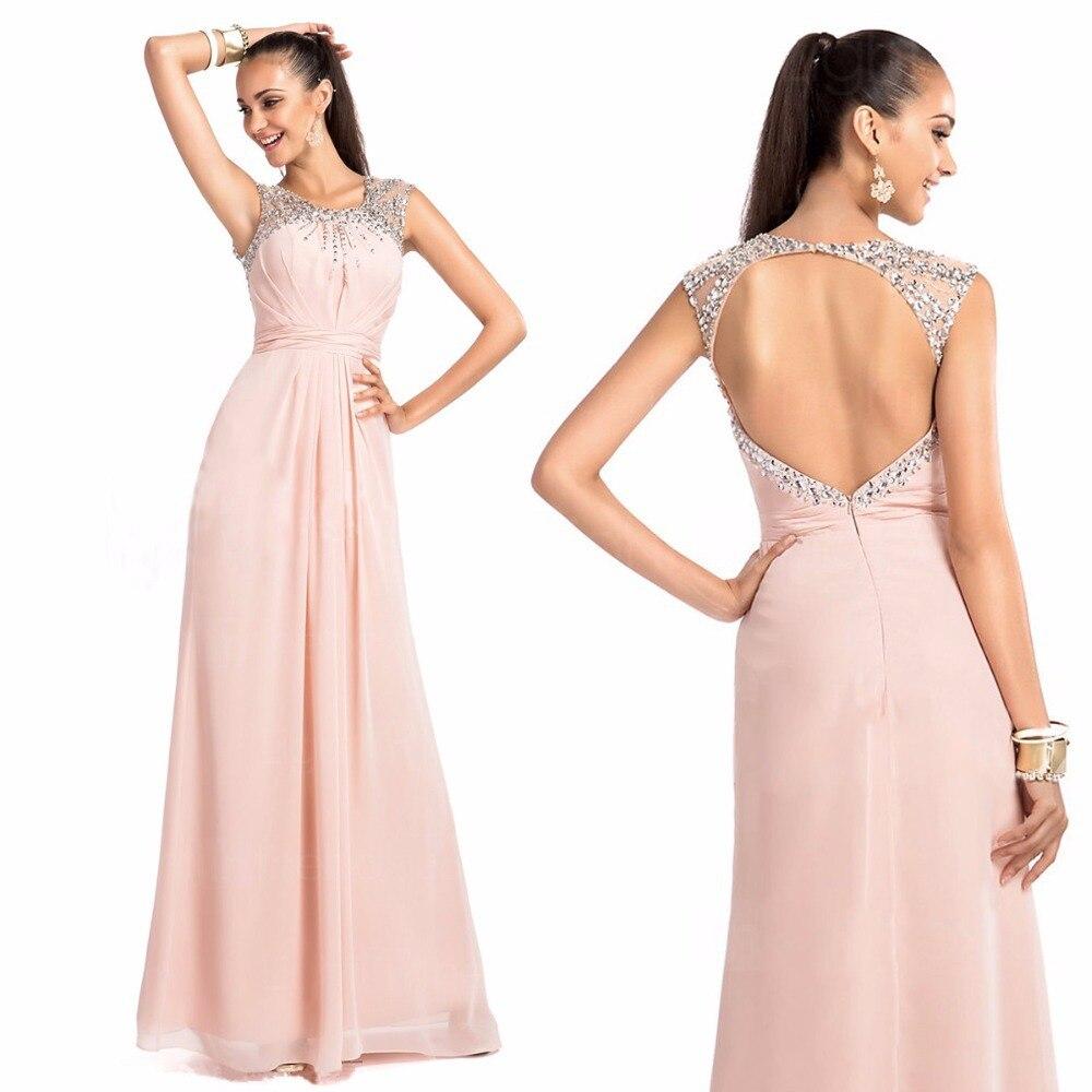 New Arrival Crystal Beaded Sexy Backless Pink Chiffon Long Formal Prom Gown Vestido De Festa Vestido Longo Bridesmaid Dresses