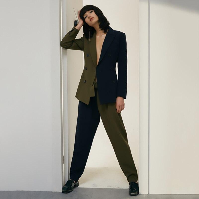 Tvvovwin 2019New Весна Лето Высокая талия соединены хит цвет зеленый короткие личности свободные длинные брюки женские брюки Мода C771 - 5