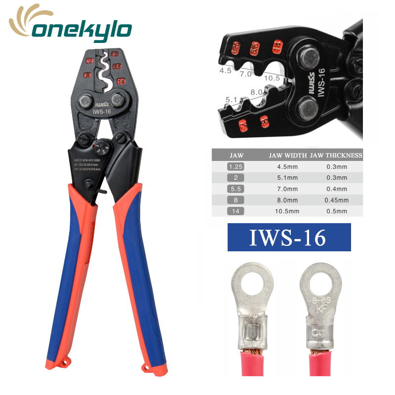 IWS 16 NON INSULATED TERMINAL CRIMP TOOL IWISS Ratchet Crimping Tool AWG 22 6 for UT OT SC C45 terminals crimper pliers|Pliers| |  - title=