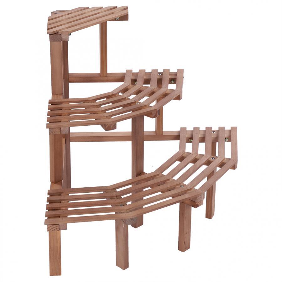 TOPINCN Natural Wood Estante de Madera de Pino con 4 Niveles
